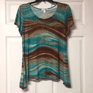 •Dress Barn• Teal and Brown Blouse